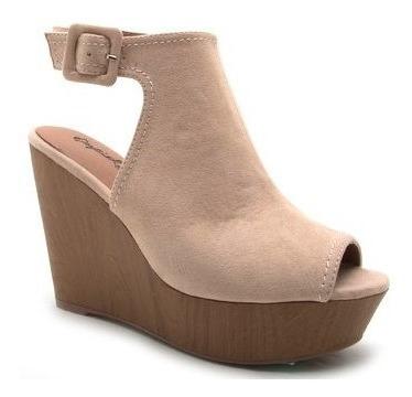 Zapato Mujer Abierto Qupid Sin Talón Colores Negro Y Toast