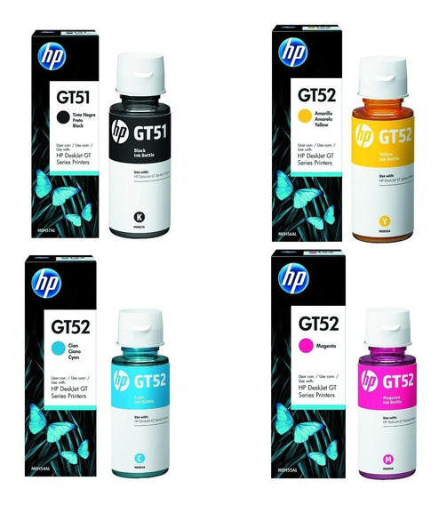 Kit 4 Tinta Hp Gt51 E Gt52 Original
