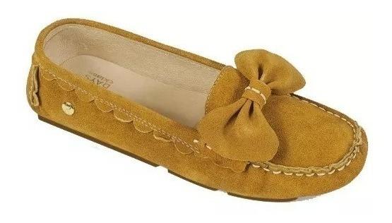 Calzado Zapato Flat Dama Mujer Color Mostaza Comodo Piel