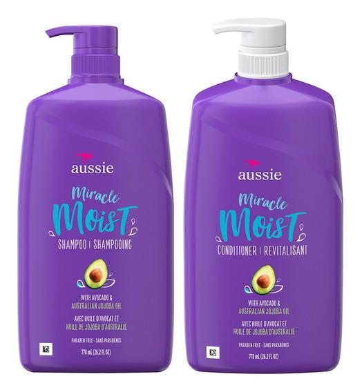 Shampoo + Condicionador Aussie Mega Moist 778 Ml (kit)