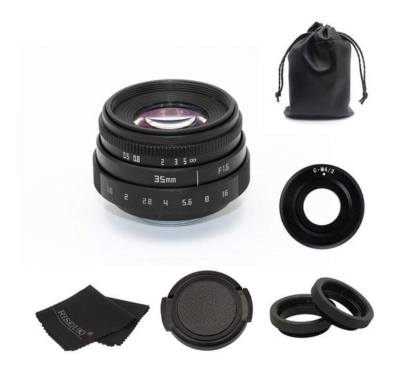 Lente 35mm F1.6 Para Panasonic Gh5 Blackmagic 4k -m4/3 Mft
