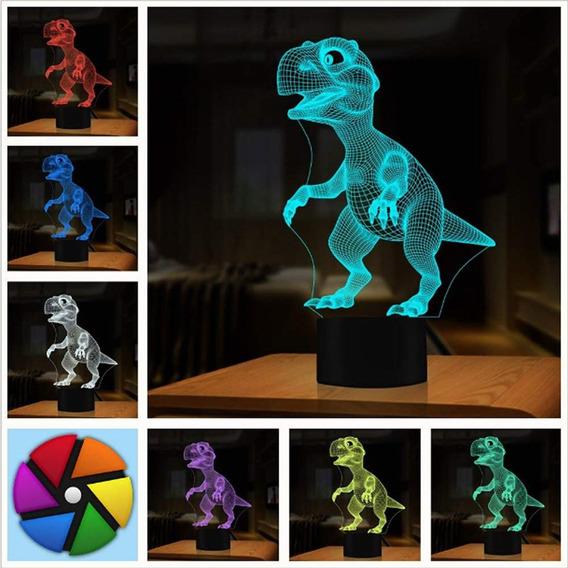 Luminária Acrílico Led 3d,dinossauro, Decoração 7 Cores