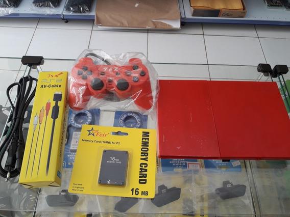 Playstation 2 + 1 Memory Card + Pen Drive Com 2 Jogos