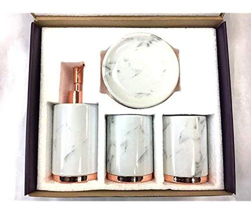 Imagen 1 de 3 de Set De Accesorios De Baño De Ceramica De 4 Piezas   Incluy
