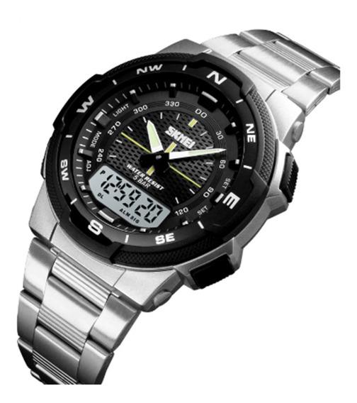 Relógio Masculino Esportivo Couro Skmei 1370 + Brinde
