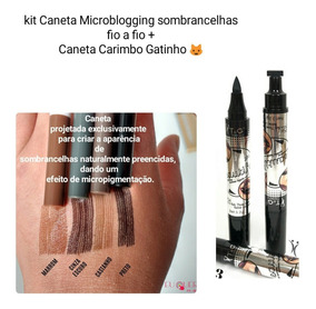 2 Canetas Cinza Escuro E Preto +1 Caneta Carimbo Gatinho