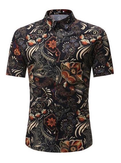 Camisa Asiática Hawaiana Slim Fit Azul Animal Print Verano