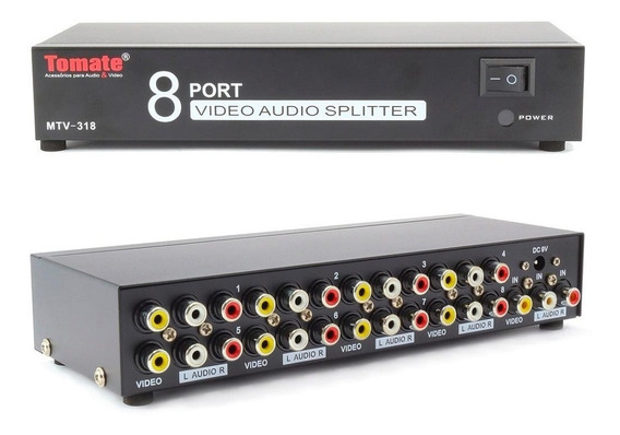 Distribuidor Sinal Splitter Rca 8 Portas Áudio Vídeo Mtv318