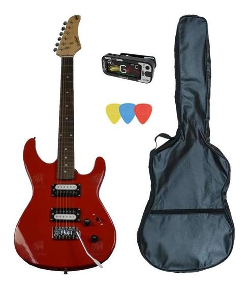 Kit Guitarra Gtu-1 Vermelha Waldman + Capa Afinador Palheta