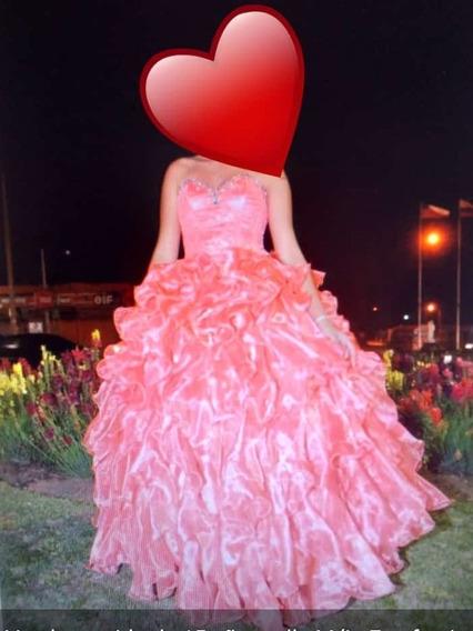Vestido De 15 Años Color Coral 3 Piezas Un Solo Uso.