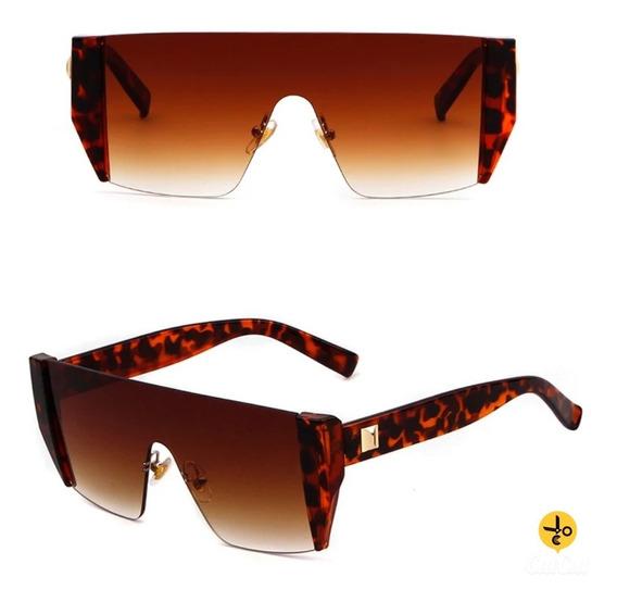 Óculos De Sol Futurista Onça Gradiente Uva Uvb C5