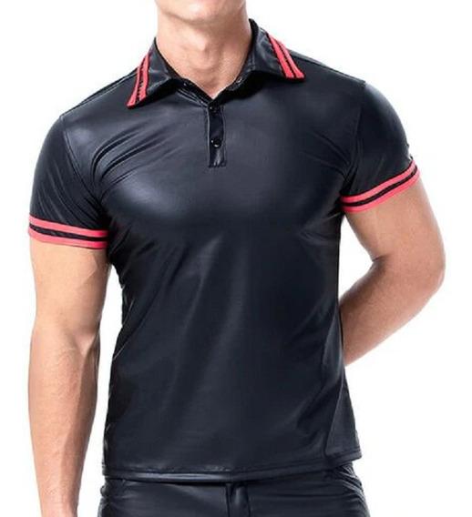 Camiseta Imitacion Cuero Cuello V
