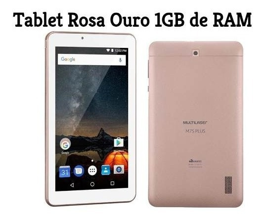 Kit Tablet M7s Plus Rosa Ouro + Capa Android 7.0 Mostruário
