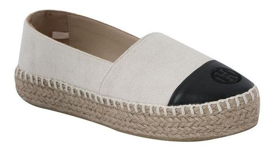 Zapato Casual Hispana 1568 Beige/negro Tex. Lona Ves 186009