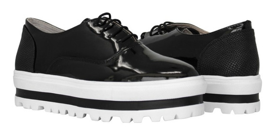 Zapatos Dama Casual Plataforma, 2020 Negro Charol Via Urbana