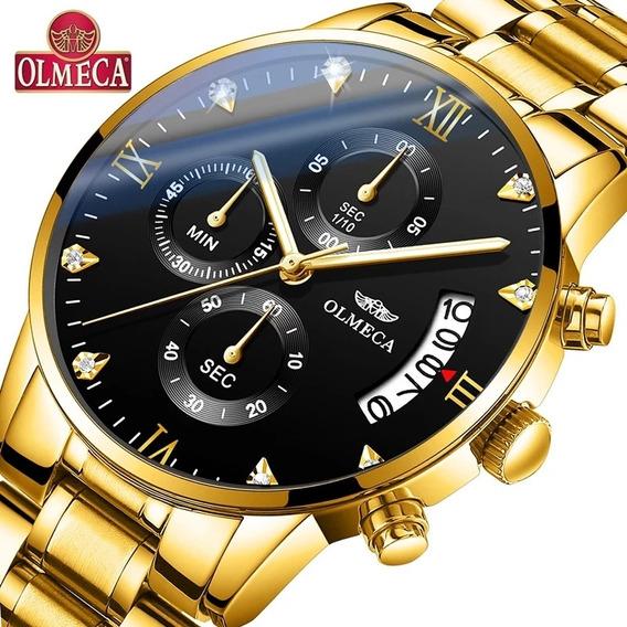 Relógio Olmeca Dourado Fundo Preto100%funcional Lançamento!