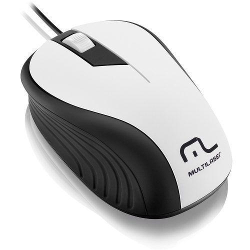 Mouse Emborrachado Branco E Preto Usb Mo224 Multilaser