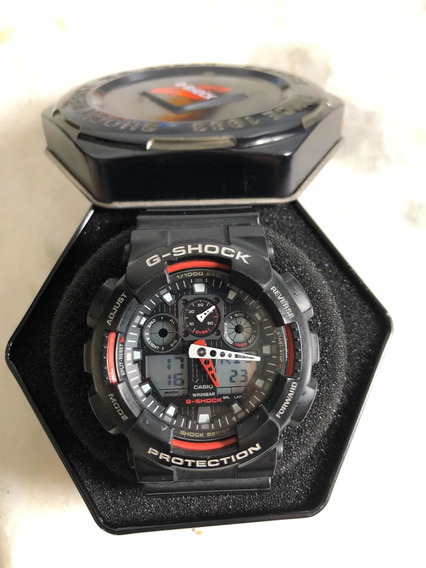 Relógio Casio G-shock Ga100 Preto E Vermelho Original