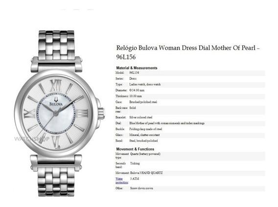 Relógio Importado Original Bulova 96l156 Feminino