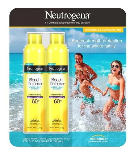Imagen 1 de 2 de Protector Solar Neutrogena Beach Defence 60+ Spray 240 G X 2