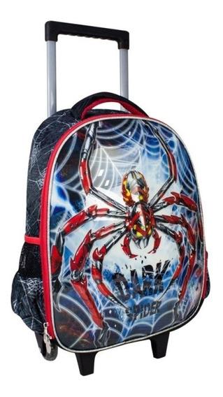 Mochila Infantil C/ Rodinhas -dark Spider Aranha Clio Style