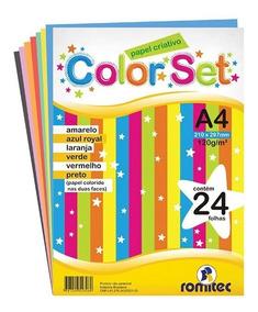 1 Bloco Papel Color Set Criativo A4 24fl 120g - Romitec