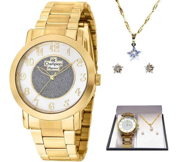 Kit Relógio Champion Feminino Elegance Analógico Cn26466w