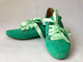 Zapatos Flats Vintage De Mujer Con Listones Turquesa