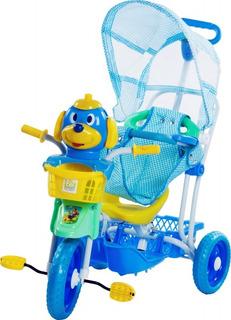 Triciclo Infantil Gangorra 3 Em 1 Cabeça Cachorro Azul