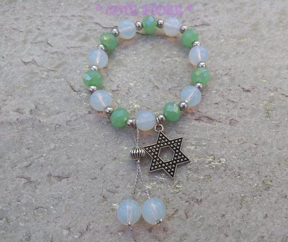 Pulseira Cristal Branca Verde Estrela De Davi 6 Pontas