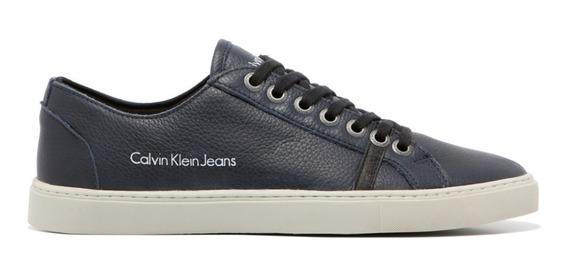 Sapatênis Tênis Marinho-preto-branco Calvin Jeans De Couro