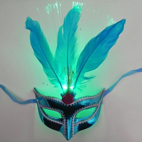 Antifaz Luminoso Con Plumas Carnaval Veneciano Cotillon