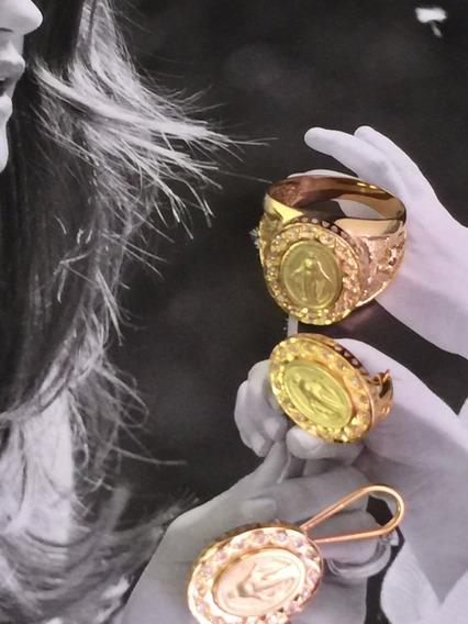 Conjunto Brincos-anel Ouro 18k-13.4gr-aro 17-18-c/brilhantes