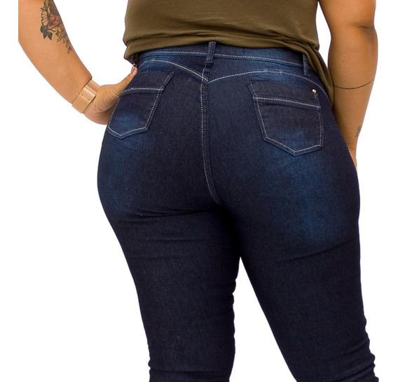Calça Jeans Skinny Cintura Alta Levanta Bumbum Com Elastano
