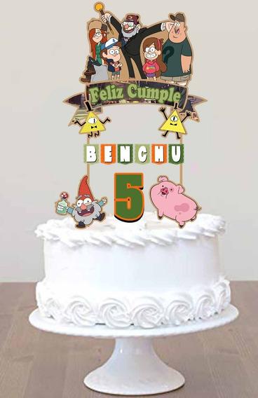 Cake Topper Pincho Personalizado Adorno Torta Gravity Falls