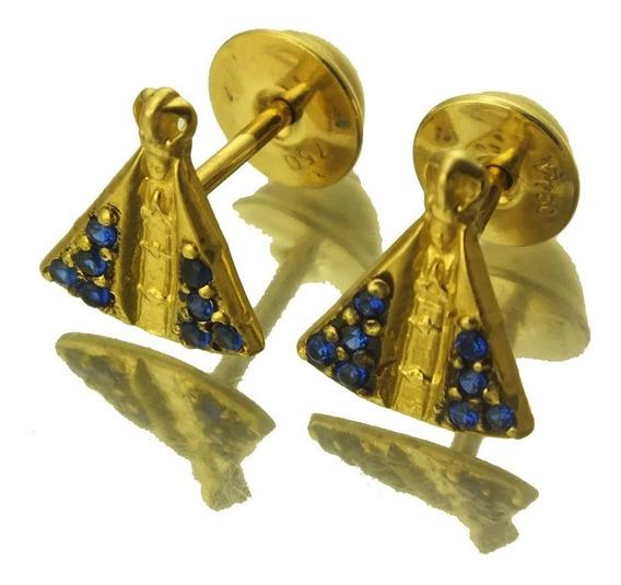 Brinco Nossa Senhora Da Aparecida Pedra Azul Ouro 18k J20792