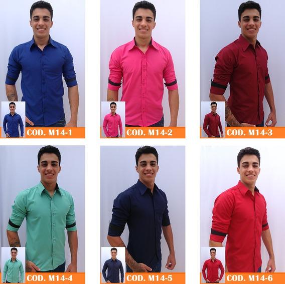 Kit 3 Camisas Social Masculina Slim Fit Blusa Camiseta Longa