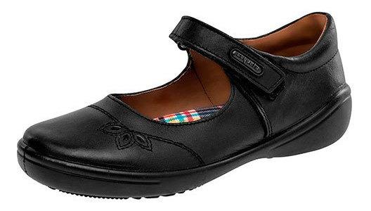 Zapato Piso Piel Coqueta Mujer Negro Flor Correa C72996 Udt