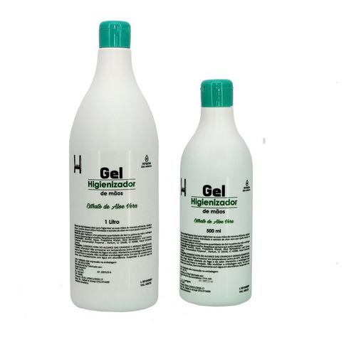 Alcool Gel 1 Litro + 500 Ml Kit Higienizador Com Selo Anvisa