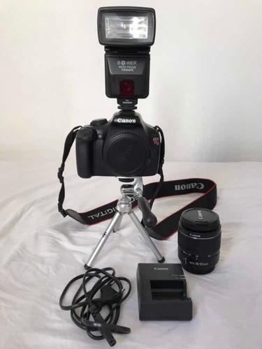 Câmera Canon Eos Rebel T3 1851 Cliques + 18-55 +flash (leia)