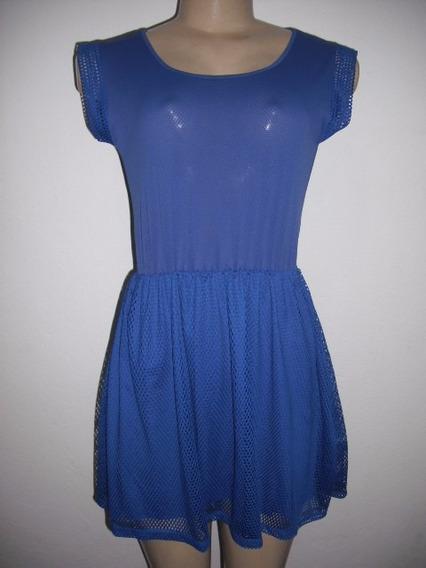 Vestido Azul Curto Telado Veste P E M Usado Bom Estado