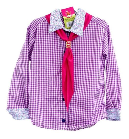 Camisa Menina Infantil Lilás Com Lenço Masquerade Fantasias