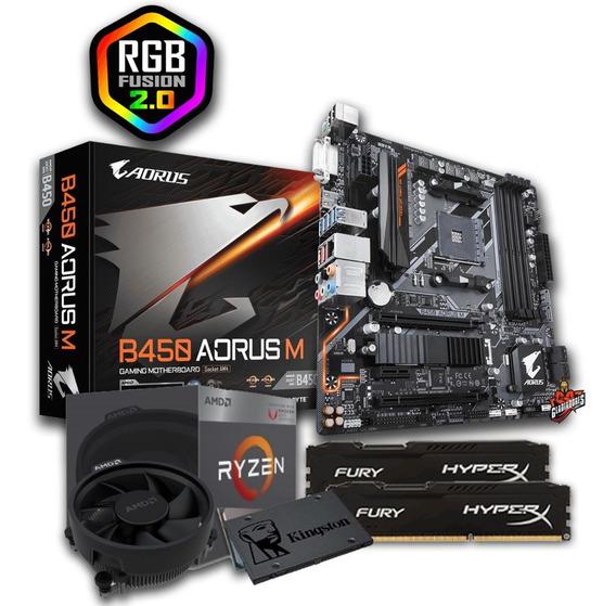 Kit Amd Ryzen 3 2200g + Gigabyte B450 Aorus M+ 2x8gb Ddr4 2400 + Ssd 240gb