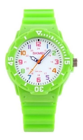 Relógio Para Criança Skmei 1043 Analógico Verde Com Nf
