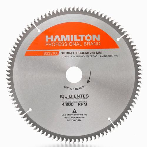 Imagen 1 de 4 de Hoja Sierra Ingletadora Hamilton 254mm 10 PuLG 100 Dientes Aluminio Madera Laminados Pvc Cod. Ss25100 Dgm