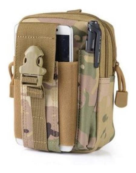 Morral Tactico Militar Sistema Molle Bolso Riñonera Funda Celular Mimetizado S-5022m