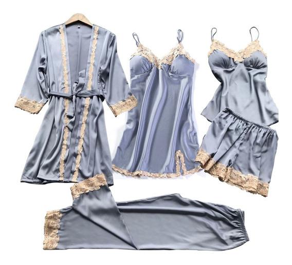 Pijama 5 Pz Satin Bata Camison Pantalon Blusa Short Az Claro