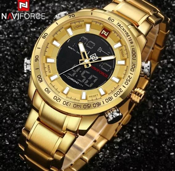 Promoção Relógio Naviforce 9093 Dourado + Brinde