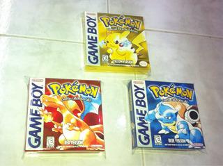 3 Cajas Custom Para Juegos Pokemon Red + Yellow + Blue