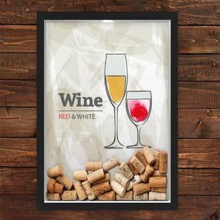Quadro Caixa Porta Rolhas Vinho Red White Wine